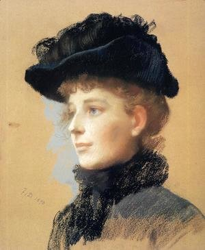 Frank Duveneck - Portrait of a Woman with Black Hat