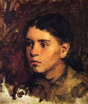 Frank Duveneck - Head of a Young Girl