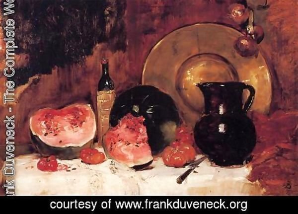 Frank Duveneck - Still Life with Watermelon
