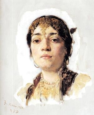 Frank Duveneck - Head of an Oriental Woman I