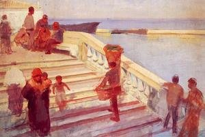 Frank Duveneck - Figures on Venetian Steps
