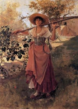 Girl with Rake I