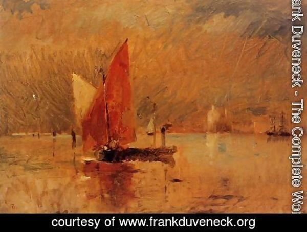 Frank Duveneck - Red Sail in the Harbor at Venice