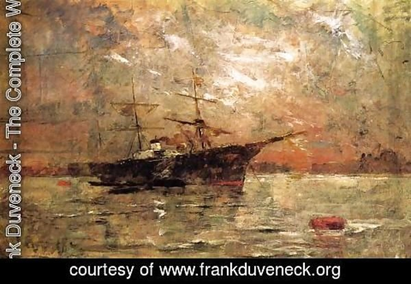 Frank Duveneck - Steamer at Anchor, Twilight, Venice