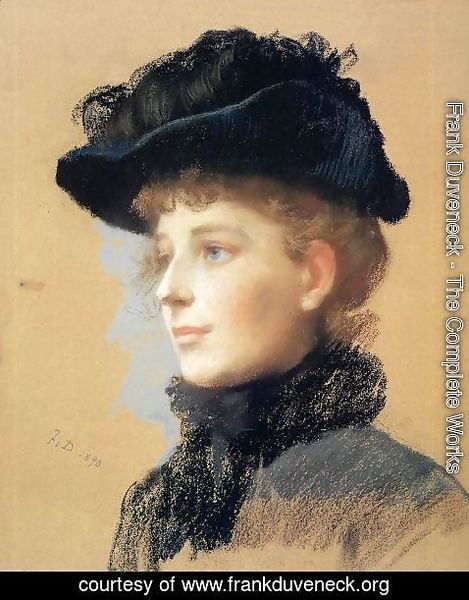 Frank Duveneck - Portrait of a Woman with Black Hat I