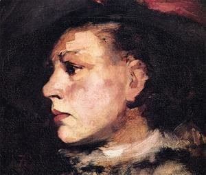 Frank Duveneck - Profile of Girl with Hat I