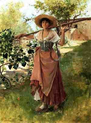 Frank Duveneck - Italian Girl with Rake
