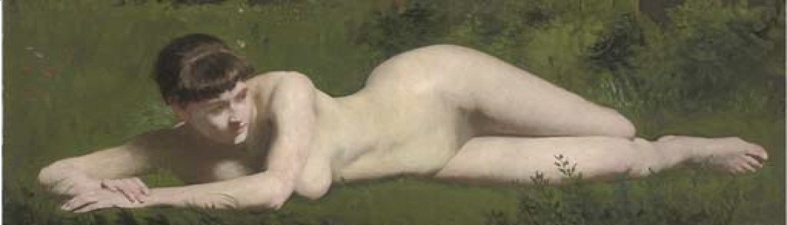 Frank Duveneck - Reclining nude on the riverbank